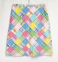Brooks Brothers Womens sz 6 (30 Waist) Pink Blue Plaid Patchwork A Line Skirt
