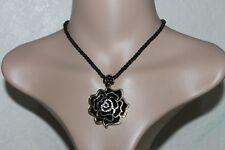 black & Gold enamelled flower big pendant short charm fashion necklace