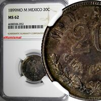 Mexico SECOND REPUBLIC Silver 1899 MO M 20 Centavos NGC MS62 TONING KM# 405.2