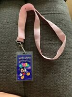 DISNEY MICKEY MOUSE HOLDING BALLOONS  MY FIRST PIN COLLECTION PINK PIN LANYARD
