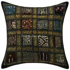 Decorative Cotton Geometric 16x16 Patchwork Embroidered Sequins Pillow Cover