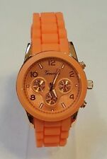 Geneva Watch MK Style Chronograph Look Peach Silicone Band Rose Gold Bezel