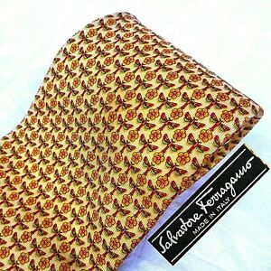 SALVATORE FERRAGAMO Italy Silk Tie Necktie Gold Tiny DRAGONFLY Insect Floral