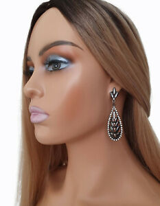 7.5cm long black metal & diamante crystal long drop statement earrings   #A01