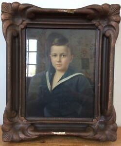 Antique 1910 Sailor Boy Pastel Painting Portrait Signed Strauss Framed