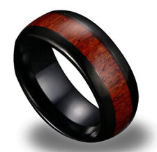 Black Tungsten Carbide Mens Wedding Band Wood Inaly Ring Size 12 SR143
