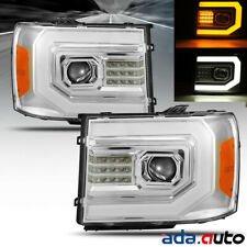 [Sequential Signal/DRL]Fit 2007-2013 GMC Sierra LED DRL Projector Headlights Set