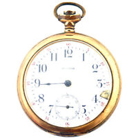 WALTHAM WHITE DIAL GOLD PLATED POCKET WATCH FOR PARTS OR REPAIR