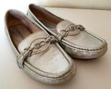 Antonio Melani Womens Sz 7.5M Silver Leather Loafers Horsebit Driving Moccasins