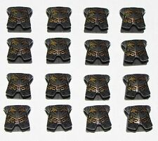 LEGO LOT OF 16 NEW PEARL DARK GREY ARMOR KINGDOMS WITH DRAGON HEADS PATTERN
