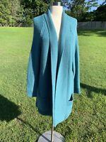 Matilda Jane Sweater Cardigan Womens Medium Open Front Blue Turquoise Duster