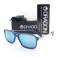 NEW DRAGON DR521S sunglasses Matte Navy Blue Sky Ion 400 56mm AUTHENTIC Mirrored