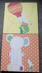 Canvas Pictures x2 Kids Bedroom Nursery Elephant Mouse Boys Girls