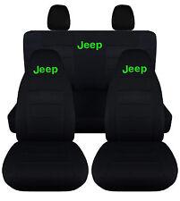2013 Jeep wrangler JK front+back car seat covers solid black w/Jeep, Sahara spor