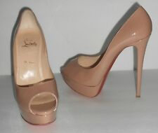 Christian Louboutin Lady Peep Patent Red Sole Pumps Nude Sz 39 1/2