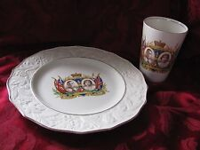 Coronation plate tumbler lot 1937 Queen Elizabeth King George ivory gold J Kent