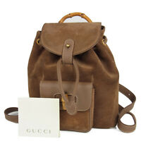 Auth GUCCI Vintage Bamboo Suede Leather Drawstring Backpack Bag Italy 15815bkac