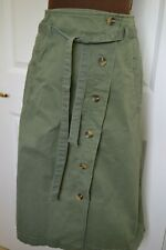 Monsoon Women's Size 16 Green Cotton Asymmetric Button Through Skirt BNWT