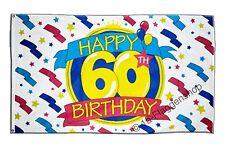 Flagge Fahne Happy Birthday 60. Geburtstag - 90 x 150 cm