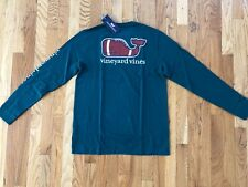 Vineyard Vines Football Whale Pocket Tee LS Boys Size M 12-14 Crimson
