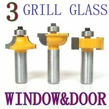 3pc 1/2 Shank Grill Glass Door Round Over & Bead Router Bit Set sct 888