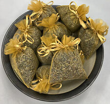 Set of 10 Lavender Sachets made with Gold Organza Bags