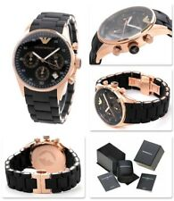 Emporio ARMANI AR5905 Black and Gold Mens Chronograph Watch