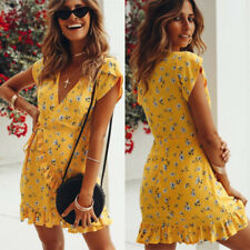 Womens Floral Clubwear Wrap Dress Ladies Deep V-neck Ruffles Beach Mini Dress UK