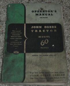 VINTAGE JOHN DEERE OPERATOR'S MANUAL TRACTOR MODEL 60 OM-R2016R