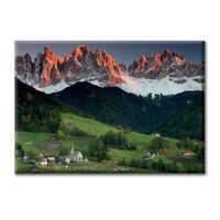 Tela Quadro Canvas Paesaggio Dolomiti Montagna Case Natura Tramonto Paesaggio