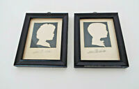 "Reverse Sihouettes Framed Pair 5"" x 4"" Boy Girl Signed Bottemer Vintage Pair"