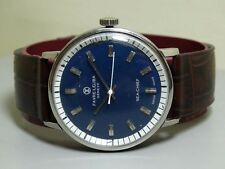 Vintage Favre Leuba Geneve Seachief Winding Mens Blue Dial Watch E49 Old Used