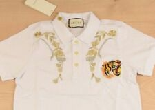 GUCCI 2018 Mens Polo T- Shirt White Short Sleeve size L Cotton Authentic Tiger