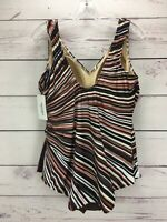 Swimsuits For All Striped One Piece Swimsuit Skirted Plus Size 24 NWT