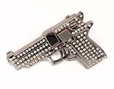 METAL BLING BELT BUCKLE GUN BULLET SHOOT GAMBLER COWBOY BIKER FIT SNAP BELT