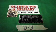 Dodge Power Wagon Civilian 1946 to 1967 shift pattern plate (P76)
