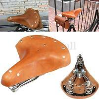 Leather Bicycle Bike Vintage Genuine Cowhide Cycling Saddle Seat With Springs