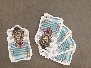 Hipster Lion sticker pack x 5