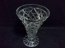 """Crystal Trumpet Vase, bevelled diamond cut, 7 1/2"""" tall"""