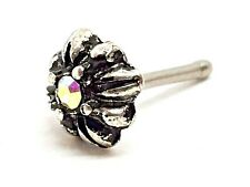 Nose Stud Tribal Flower AB CZ 20g (0.8mm) Ball End 316l Surgical Steel