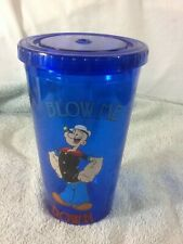 Cool Popeye Blow Me Down 16 oz Plastic Cup with Lid pre-owned Great Collectible