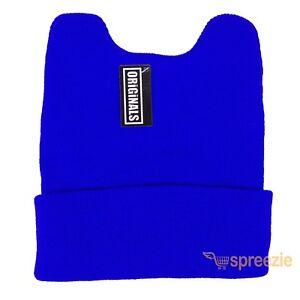 Royal Blue Beanie Cat Ears Cuffed Warm Ski Winter Knitted Cap Hat Fashion New