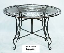 FRENCH GARDEN TABLE 120x120cm  black WROUGHT IRON OUTDOOR QUALITY NEW