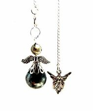 Larvikite Crystal Guardian Angel Ball Pendulum on Silvertone Chain - Protection