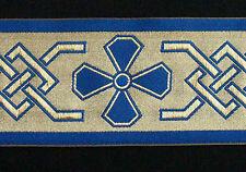 Very Wide, Christian, Jacquard Trim. Celtic. Gold, Blue