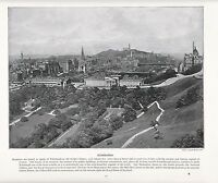 1897 Vittoriano Stampa ~Edimburgo Scozia~ Castle Grounds National Gallery