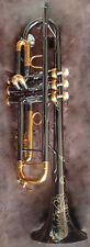 """Professional Black Nickel Gold Bb Trumpet 4-7/8"""" Horn NEW engraving+ mouth +case"""