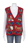 DESIGNERS STUDIO ORIGINALS Christmas Vest Size Large Red Pearl Teddy Bear Ugly
