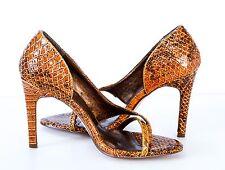 Michael Antonio Brown Patent Leather Snakeskin Thong Open toe Heel Pumps 6M