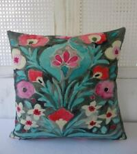 Beautiful Teal & Grey Floral Linen Blend Cushion Cover 45